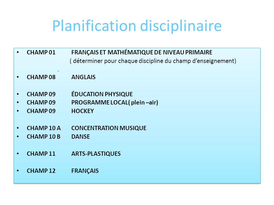 Planification disciplinaire COMPOSITION, RÔLE ET RESPONSABILITÉS. Tous les enseignants dune même discipline sont automatiquement affiliés à léquipe di