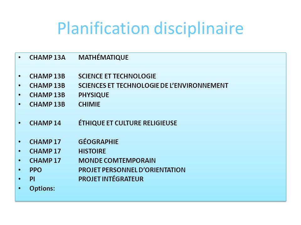 Planification disciplinaire CHAMP 01FRANÇAIS ET MATHÉMATIQUE DE NIVEAU PRIMAIRE ( déterminer pour chaque discipline du champ denseignement) – CHAMP 08