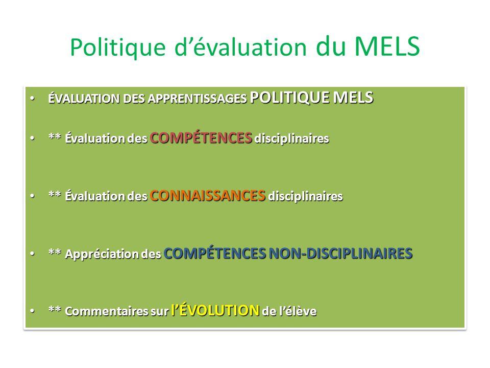 Normes et modalités Politique dévaluation du MELS Normes et modalités de la CSA Normes et modalités de léquipe école Planifications des équipes-cycle