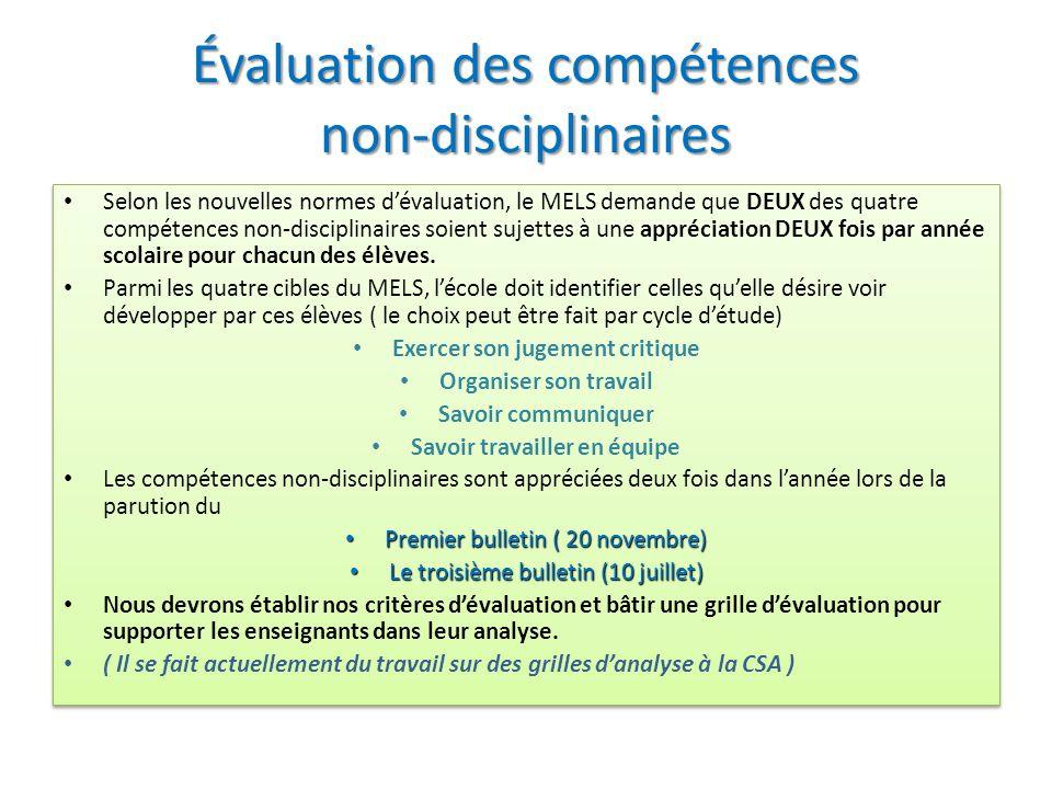Évaluation des connaissances disciplinaires Les ajustements apportés aux programmes détude du Renouveau pédagogique réintègrent dans lévaluation une p