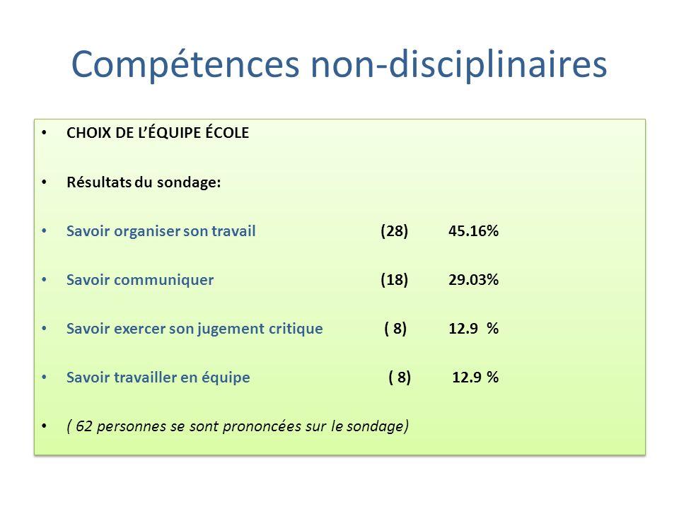 Évaluation des compétences non-disciplinaires Selon les nouvelles normes dévaluation, le MELS demande que DEUX des quatre compétences non-disciplinair