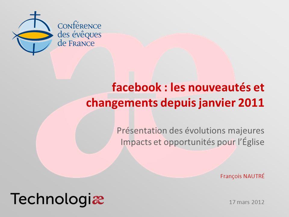 17 mars 2012 facebook : les nouveautés et changements depuis janvier 2011 Présentation des évolutions majeures Impacts et opportunités pour lÉglise Fr