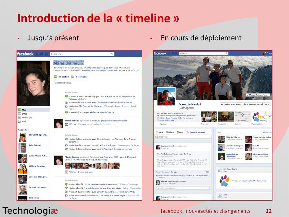 facebook : nouveautés et changements12 Introduction de la « timeline » Jusquà présent En cours de déploiement