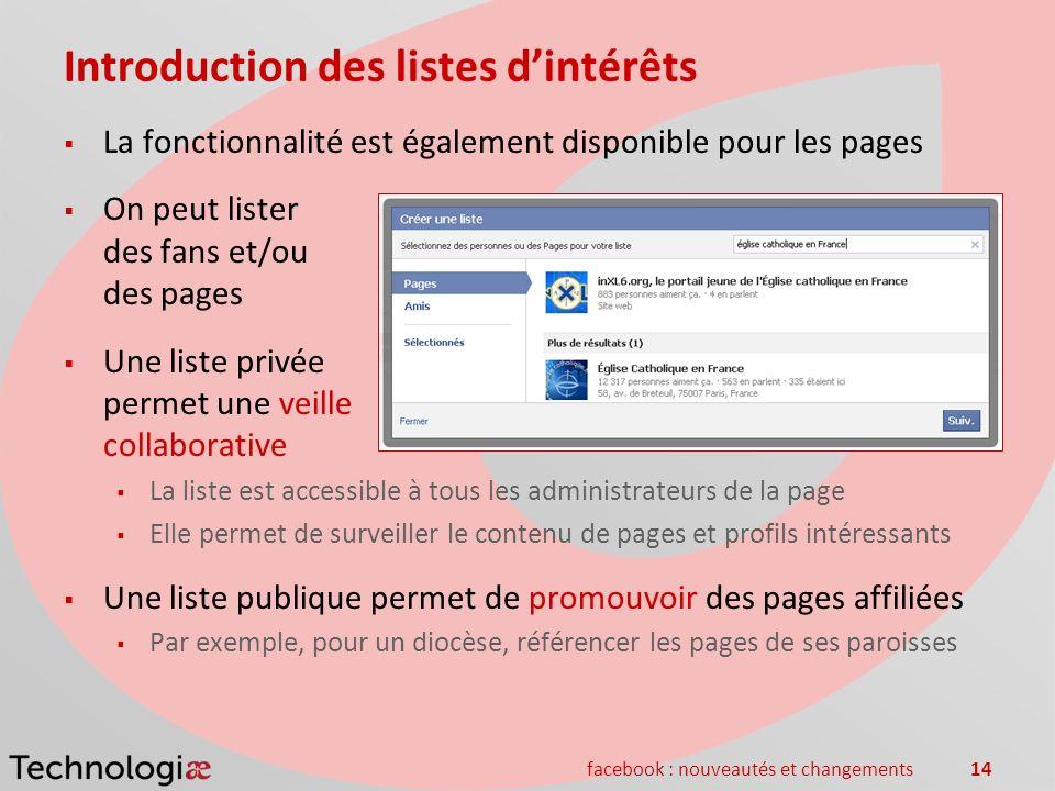 facebook : nouveautés et changements14 Introduction des listes dintérêts La fonctionnalité est également disponible pour les pages On peut lister des