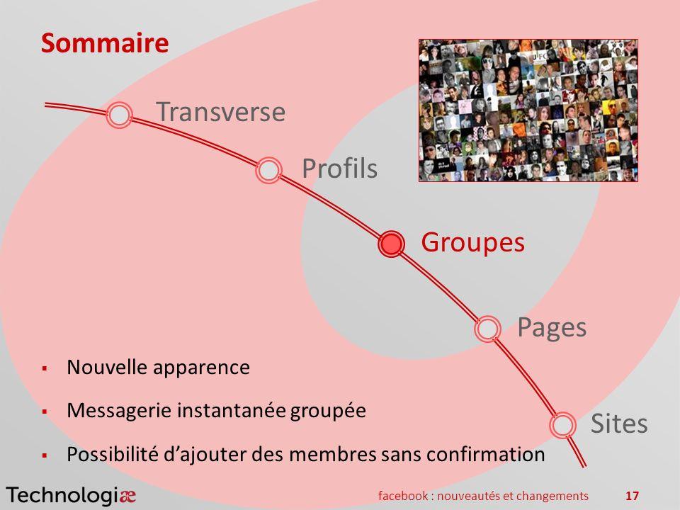 facebook : nouveautés et changements17 Sommaire Pages Groupes Sites Transverse Nouvelle apparence Messagerie instantanée groupée Possibilité dajouter