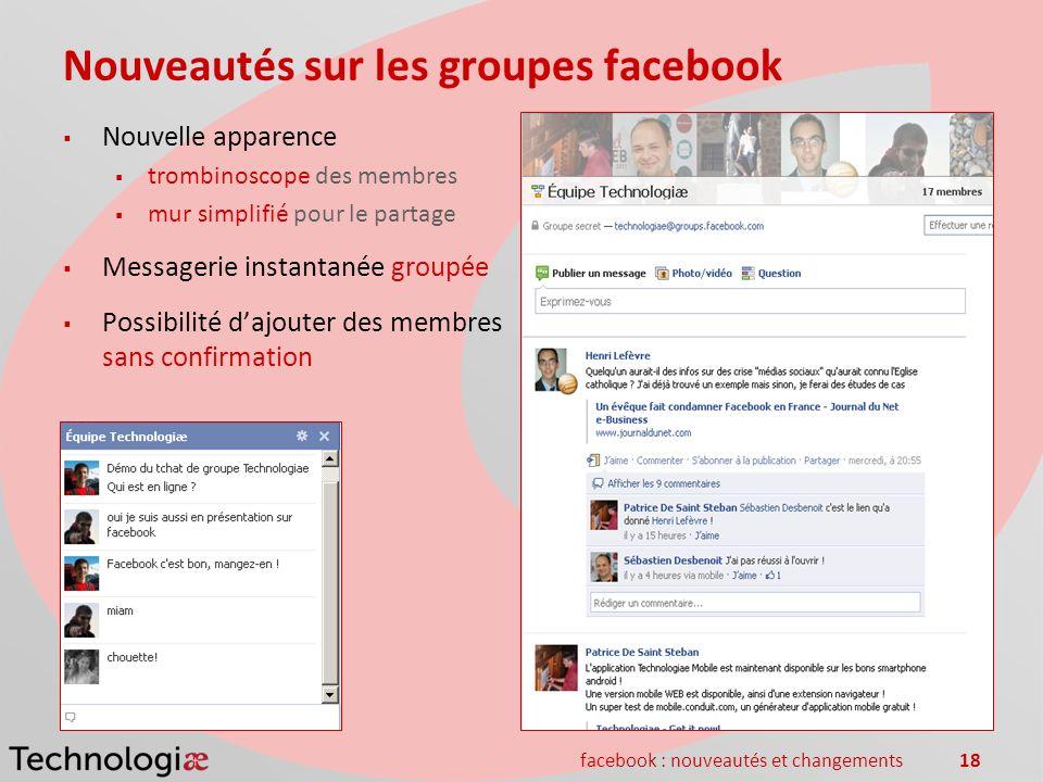 facebook : nouveautés et changements18 Nouveautés sur les groupes facebook Nouvelle apparence trombinoscope des membres mur simplifié pour le partage