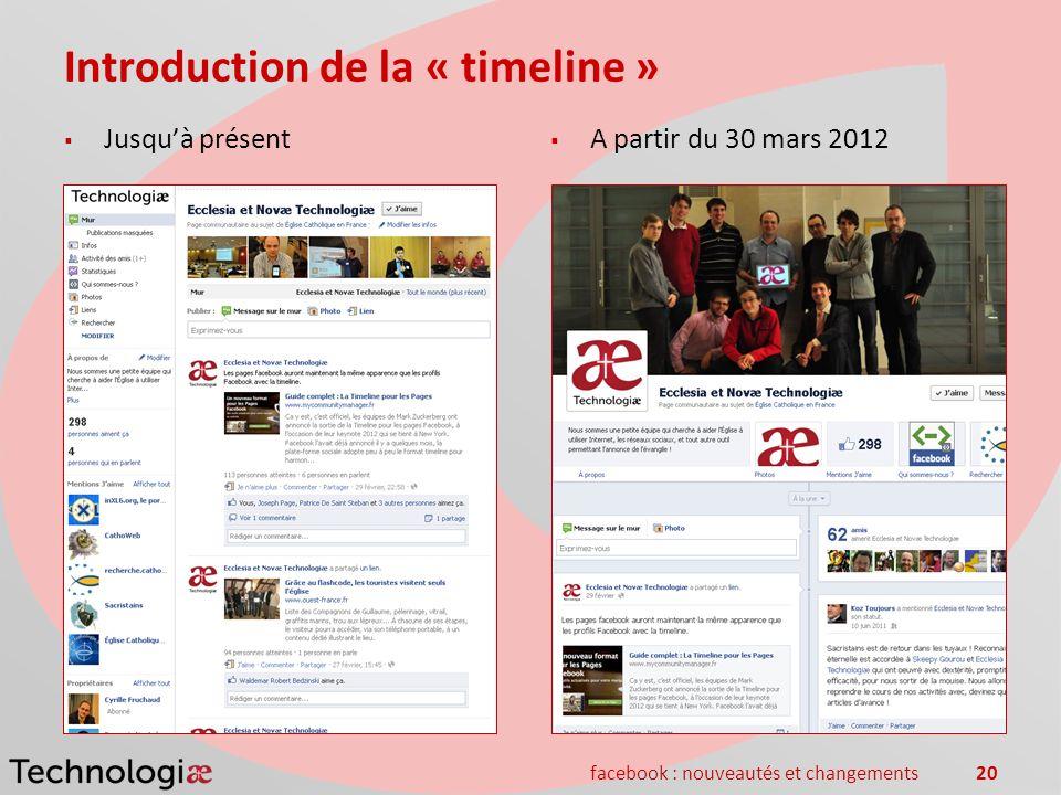 facebook : nouveautés et changements20 Introduction de la « timeline » Jusquà présent A partir du 30 mars 2012