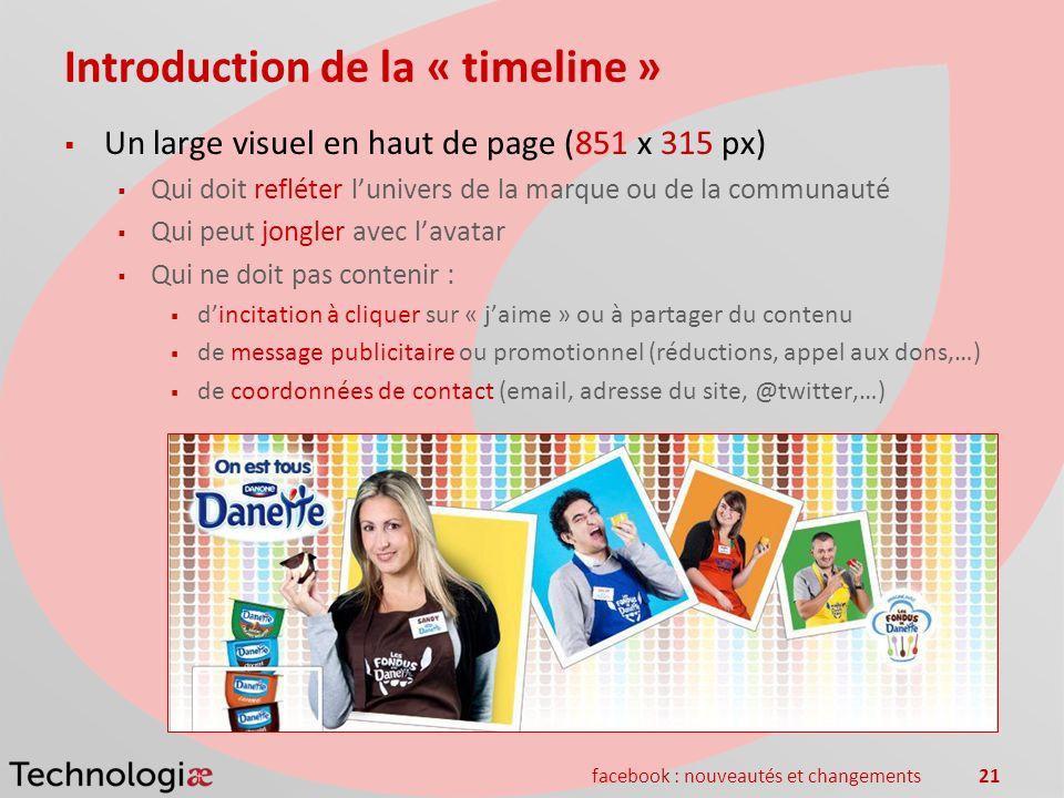 facebook : nouveautés et changements21 Introduction de la « timeline » Un large visuel en haut de page (851 x 315 px) Qui doit refléter lunivers de la