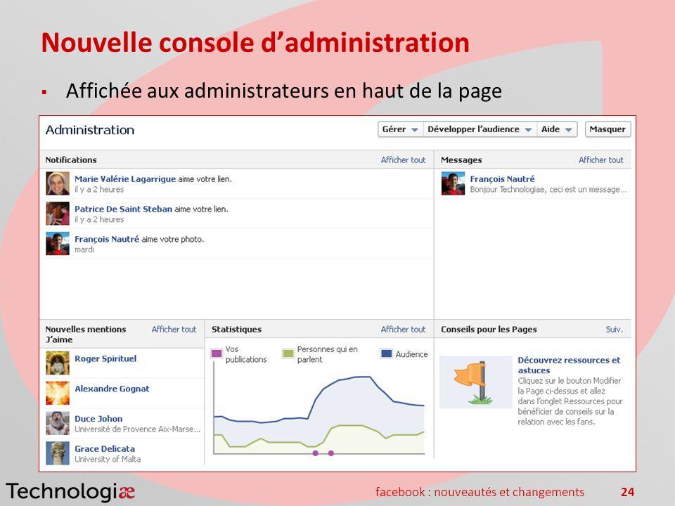 facebook : nouveautés et changements24 Nouvelle console dadministration Affichée aux administrateurs en haut de la page