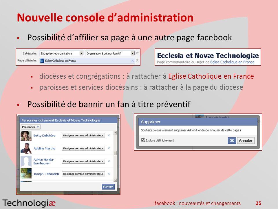 facebook : nouveautés et changements25 Nouvelle console dadministration Possibilité daffilier sa page à une autre page facebook diocèses et congrégati