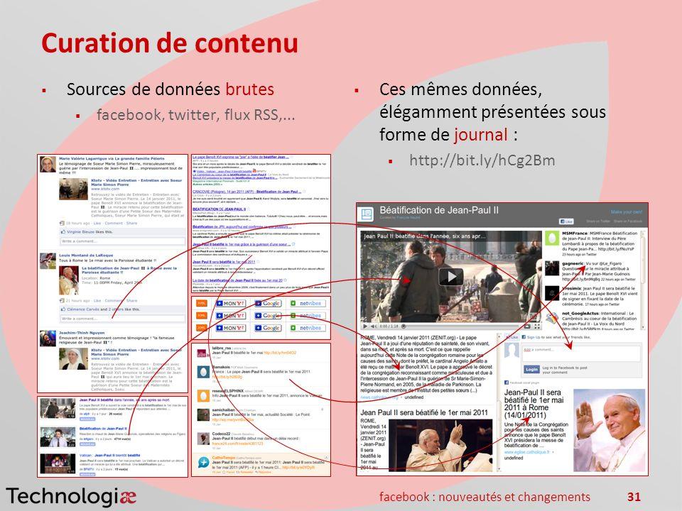 facebook : nouveautés et changements31 Curation de contenu Sources de données brutes facebook, twitter, flux RSS,... Ces mêmes données, élégamment pré
