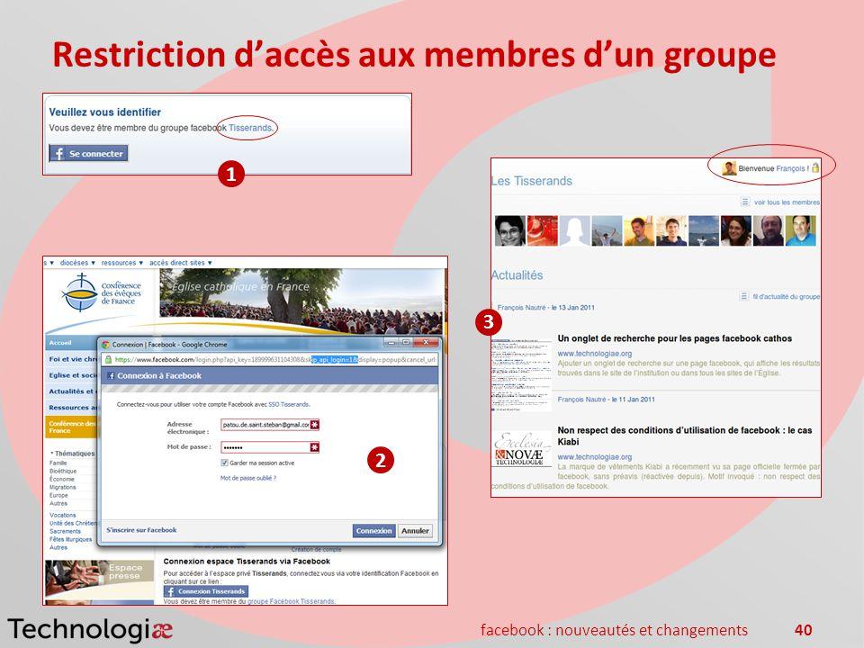facebook : nouveautés et changements40 Restriction daccès aux membres dun groupe 1 2 3