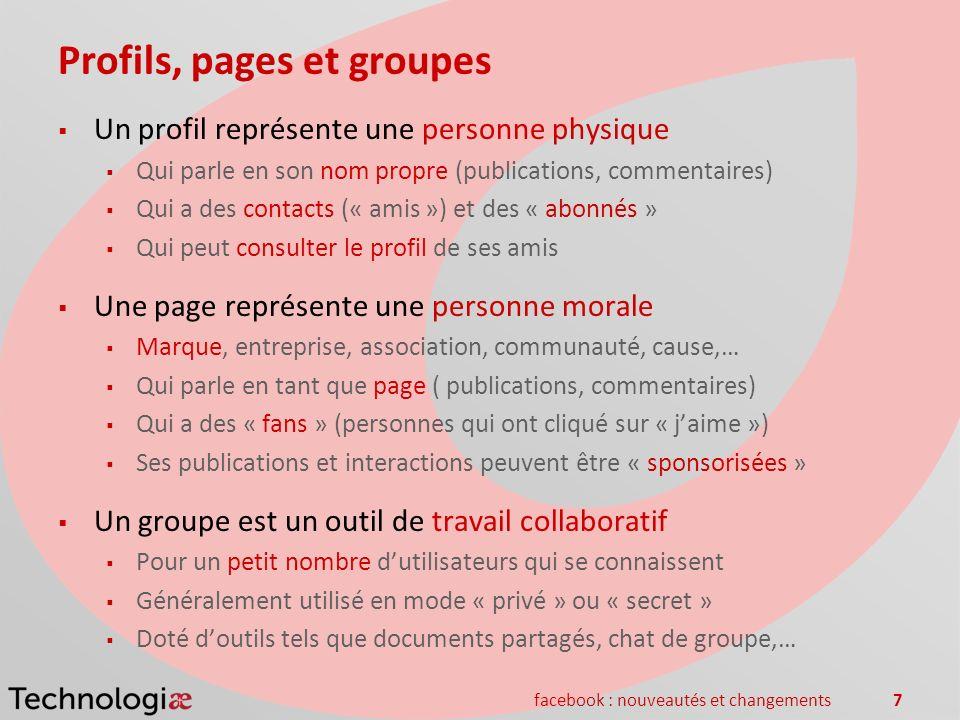 facebook : nouveautés et changements7 Profils, pages et groupes Un profil représente une personne physique Qui parle en son nom propre (publications,