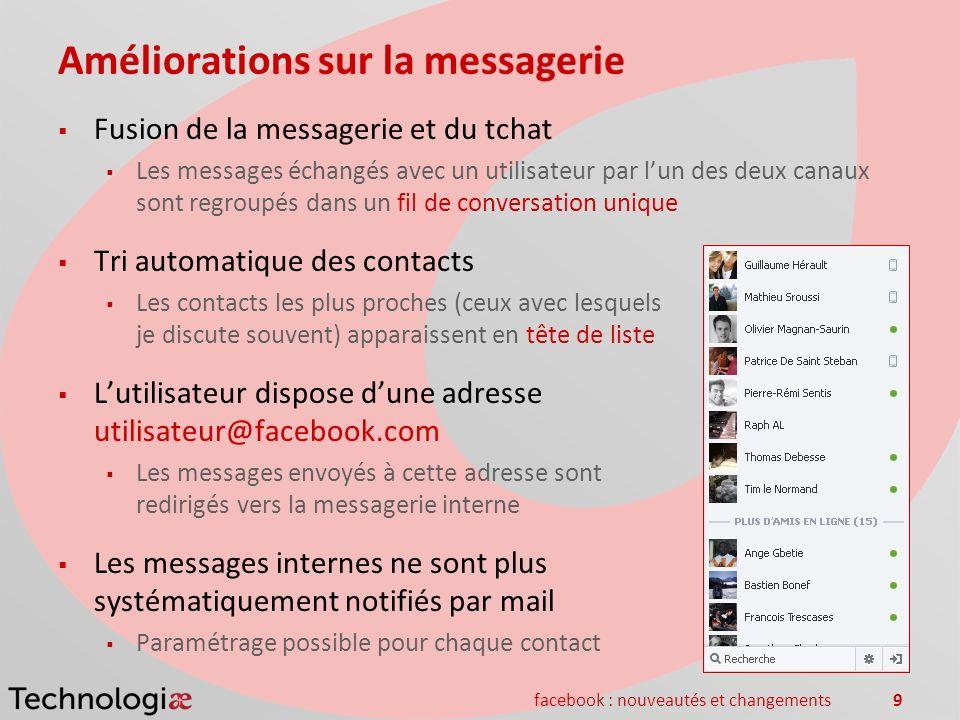 facebook : nouveautés et changements9 Améliorations sur la messagerie Fusion de la messagerie et du tchat Les messages échangés avec un utilisateur pa