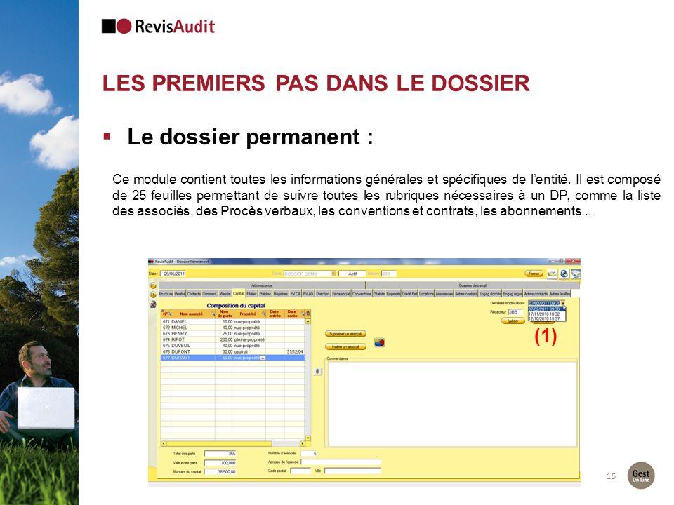 LES PREMIERS PAS DANS LE DOSSIER 15 Le dossier permanent : (1) Ce module contient toutes les informations générales et spécifiques de lentité. Il est