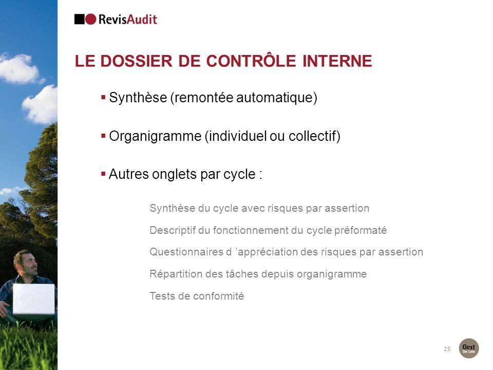 25 Synthèse (remontée automatique) Organigramme (individuel ou collectif) Autres onglets par cycle : Synthèse du cycle avec risques par assertion Desc