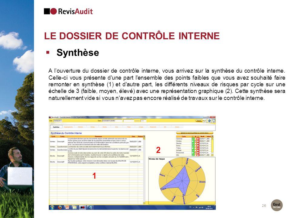 26 Synthèse A louverture du dossier de contrôle interne, vous arrivez sur la synthèse du contrôle interne. Celle-ci vous présente d'une part l'ensembl