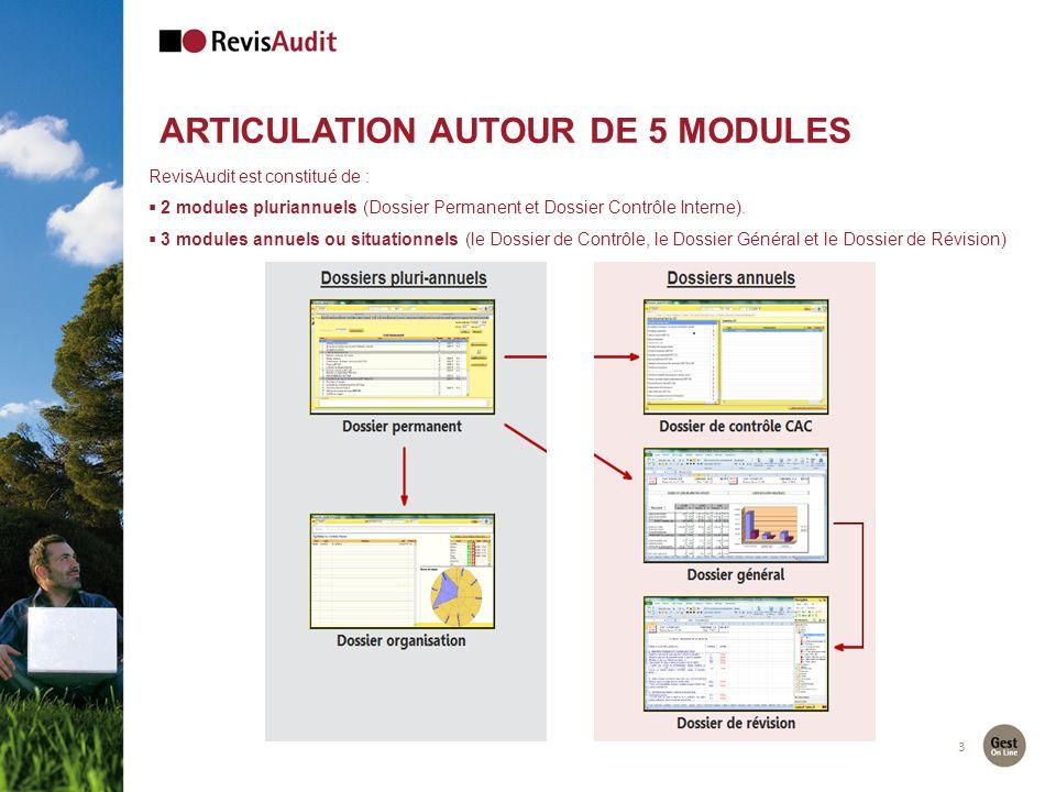 3 RevisAudit est constitué de : 2 modules pluriannuels (Dossier Permanent et Dossier Contrôle Interne). 3 modules annuels ou situationnels (le Dossier