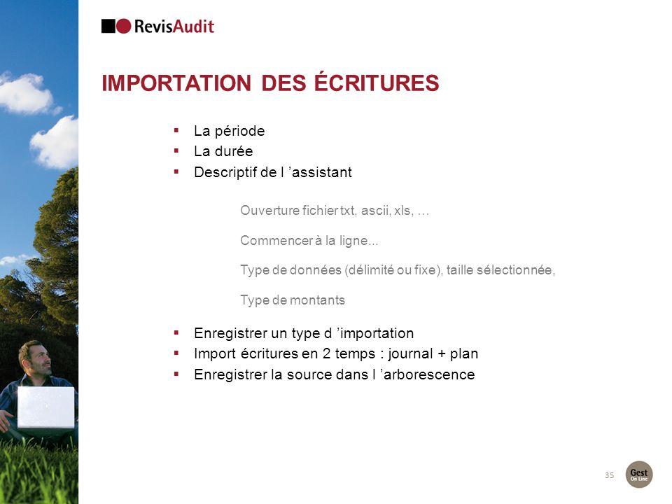 35 IMPORTATION DES ÉCRITURES La période La durée Descriptif de l assistant Ouverture fichier txt, ascii, xls, … Commencer à la ligne... Type de donnée
