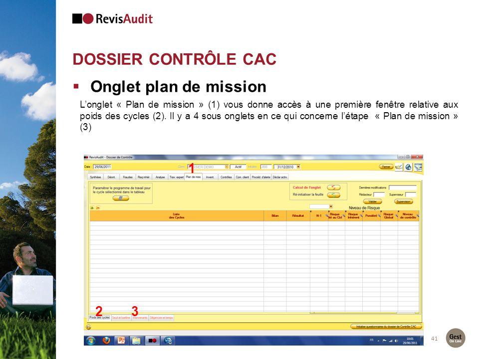 DOSSIER CONTRÔLE CAC 41 Onglet plan de mission Longlet « Plan de mission » (1) vous donne accès à une première fenêtre relative aux poids des cycles (