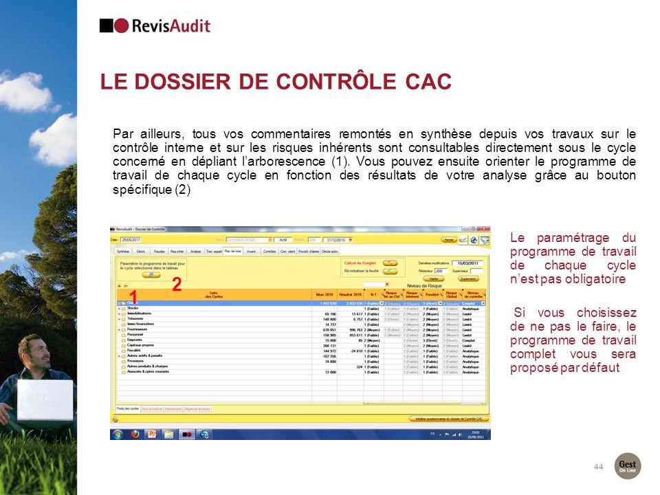 LE DOSSIER DE CONTRÔLE CAC 44 2 1 Par ailleurs, tous vos commentaires remontés en synthèse depuis vos travaux sur le contrôle interne et sur les risqu
