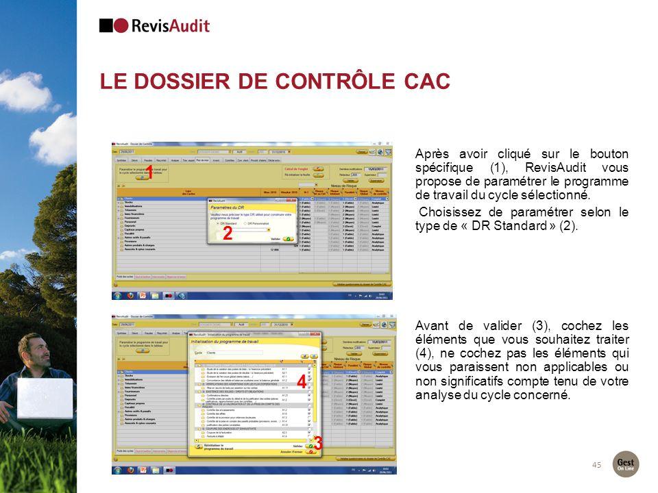 LE DOSSIER DE CONTRÔLE CAC 45 2 1 Après avoir cliqué sur le bouton spécifique (1), RevisAudit vous propose de paramétrer le programme de travail du cy