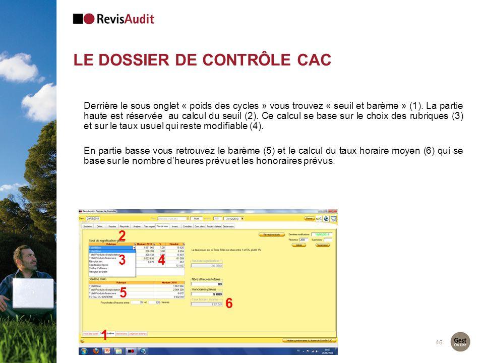 LE DOSSIER DE CONTRÔLE CAC 46 2 1 Derrière le sous onglet « poids des cycles » vous trouvez « seuil et barème » (1). La partie haute est réservée au c