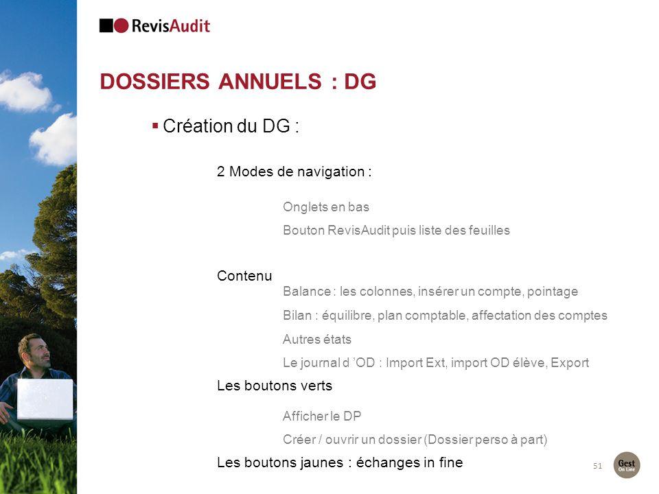 51 DOSSIERS ANNUELS : DG Création du DG : 2 Modes de navigation : Onglets en bas Bouton RevisAudit puis liste des feuilles Contenu Balance : les colon