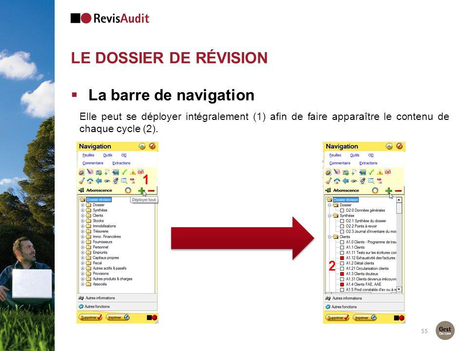 LE DOSSIER DE RÉVISION 55 La barre de navigation Elle peut se déployer intégralement (1) afin de faire apparaître le contenu de chaque cycle (2). 1 2