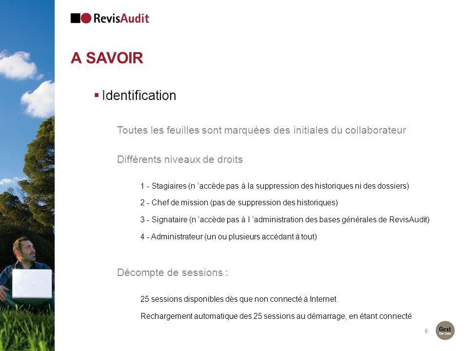 6 A SAVOIR Identification Toutes les feuilles sont marquées des initiales du collaborateur Différents niveaux de droits 1 - Stagiaires (n accède pas à