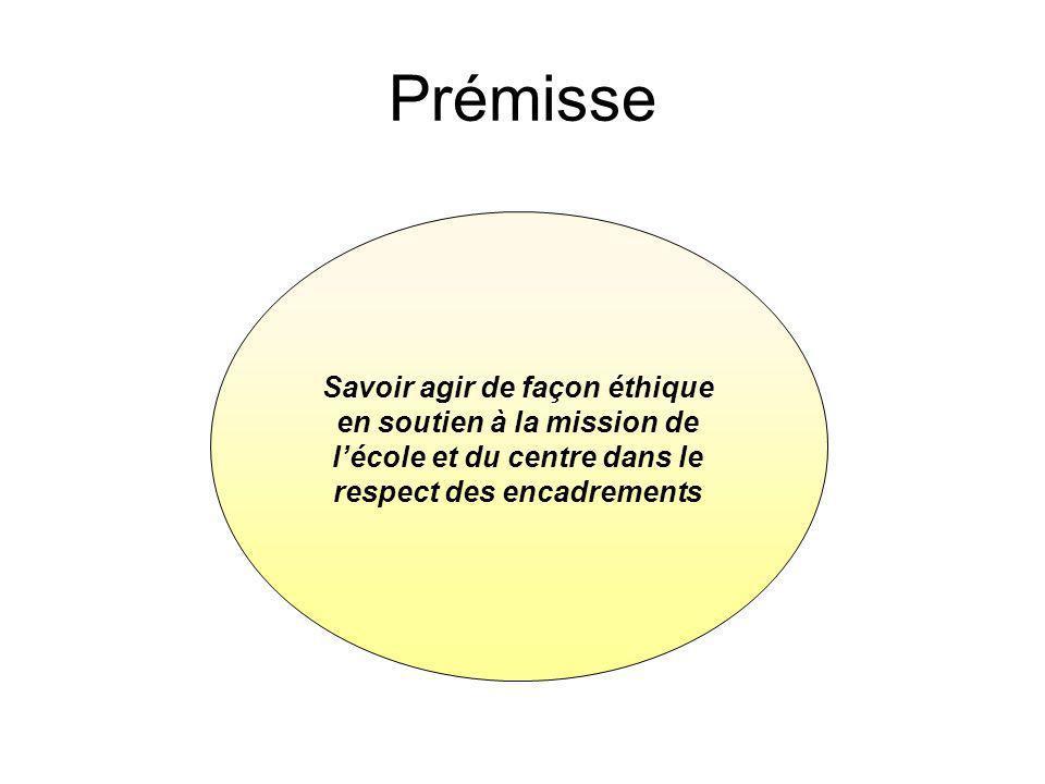 Savoir agir de façon éthique en soutien à la mission de lécole et du centre dans le respect des encadrements Prémisse