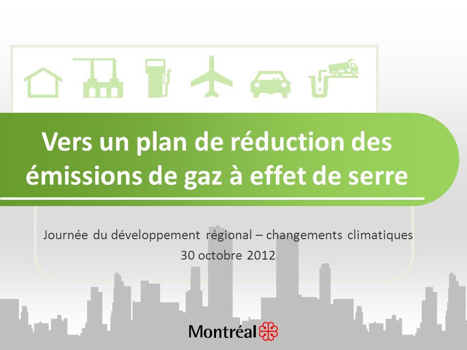 Vers un plan de réduction des émissions de gaz à effet de serre Journée du développement régional – changements climatiques 30 octobre 2012