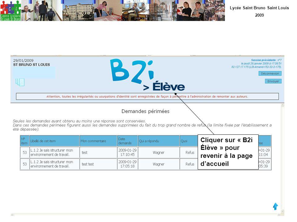 Lycée Saint Bruno Saint Louis 2009 Cliquer sur « B2i Élève » pour revenir à la page daccueil