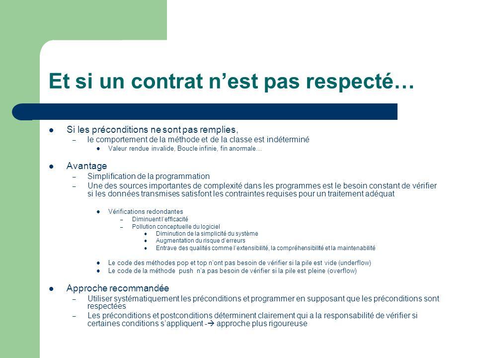 Et si un contrat nest pas respecté… Si les préconditions ne sont pas remplies, – le comportement de la méthode et de la classe est indéterminé Valeur