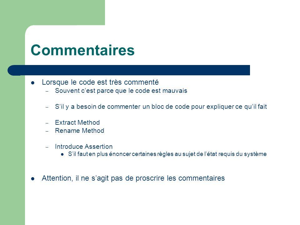 Commentaires Lorsque le code est très commenté – Souvent cest parce que le code est mauvais – Sil y a besoin de commenter un bloc de code pour expliqu