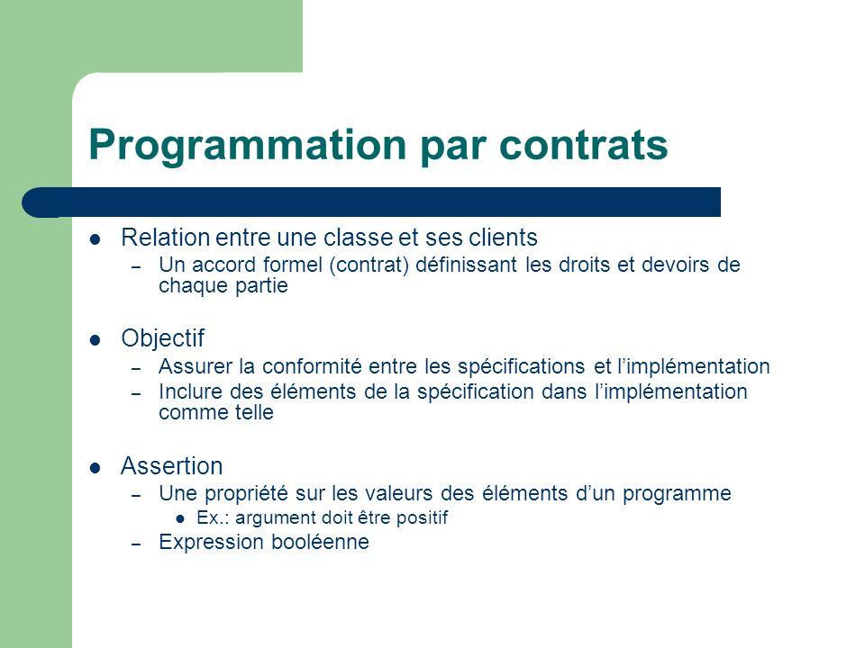 Programmation par contrats Relation entre une classe et ses clients – Un accord formel (contrat) définissant les droits et devoirs de chaque partie Ob