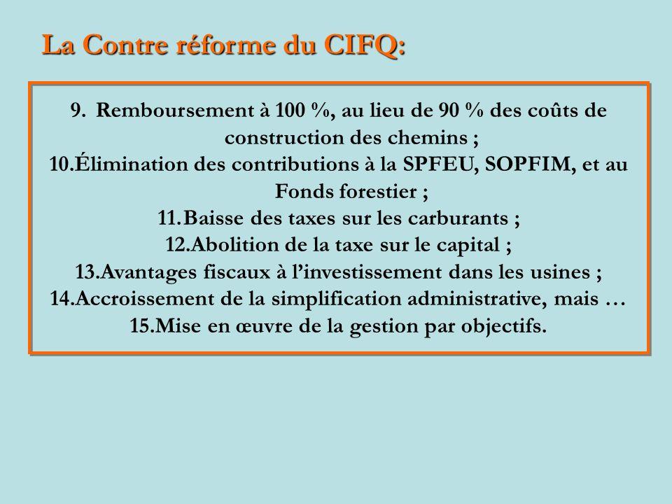 La Contre réforme du CIFQ: 9.Remboursement à 100 %, au lieu de 90 % des coûts de construction des chemins ; 10.Élimination des contributions à la SPFEU, SOPFIM, et au Fonds forestier ; 11.Baisse des taxes sur les carburants ; 12.Abolition de la taxe sur le capital ; 13.Avantages fiscaux à linvestissement dans les usines ; 14.Accroissement de la simplification administrative, mais … 15.Mise en œuvre de la gestion par objectifs.