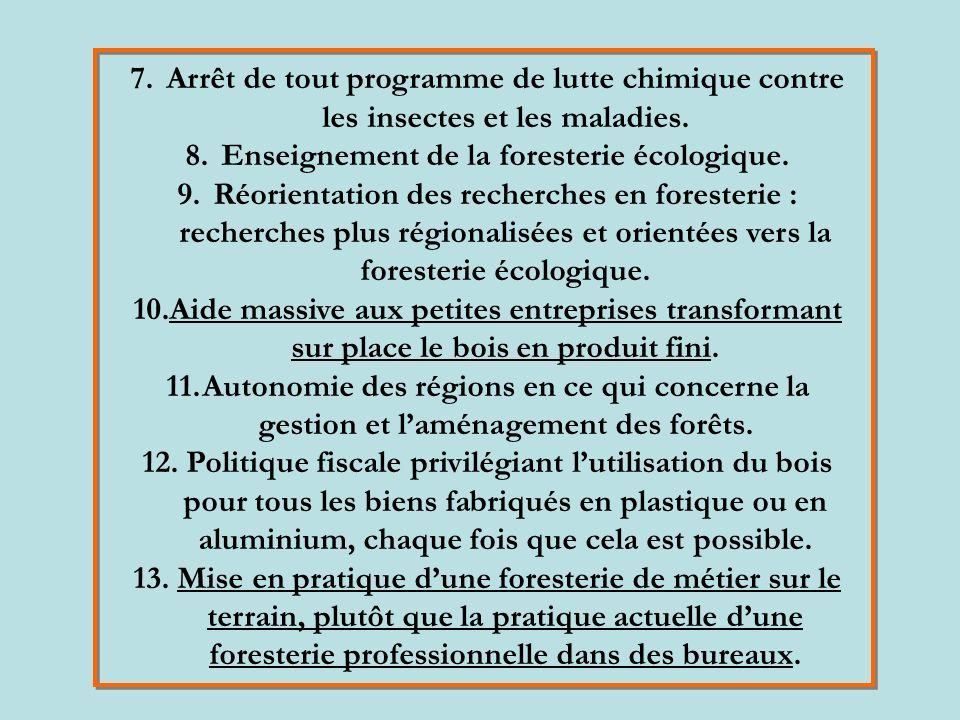 7.Arrêt de tout programme de lutte chimique contre les insectes et les maladies.