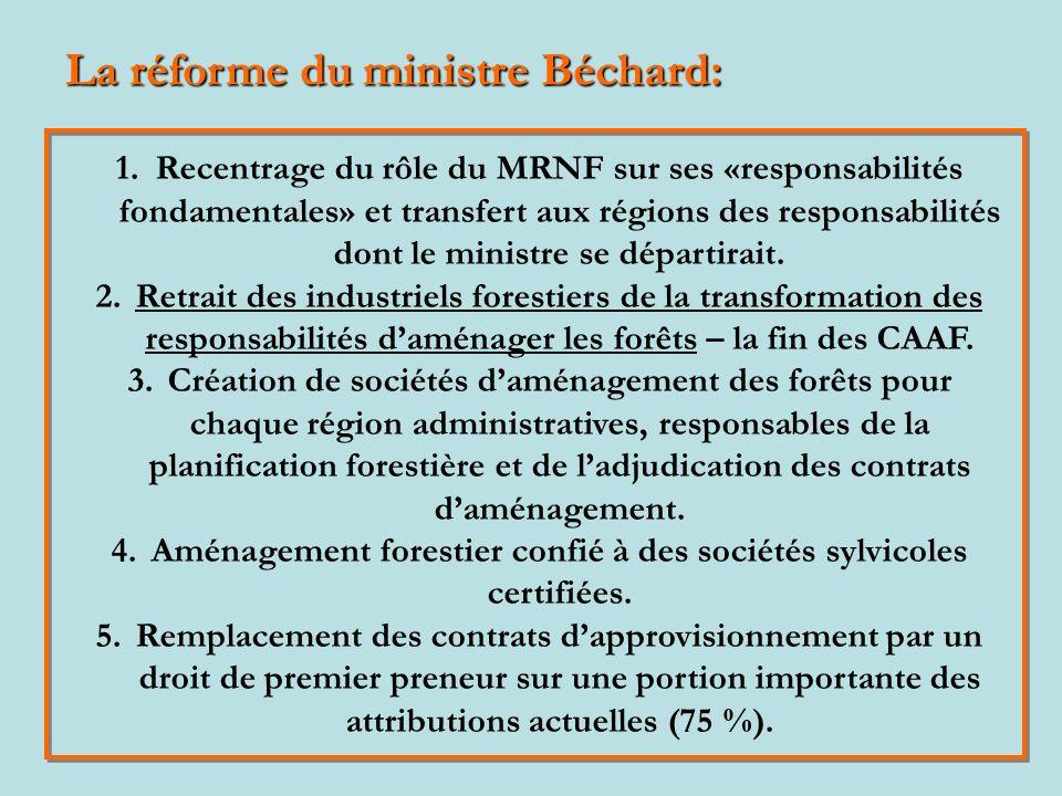 1.Recentrage du rôle du MRNF sur ses «responsabilités fondamentales» et transfert aux régions des responsabilités dont le ministre se départirait.