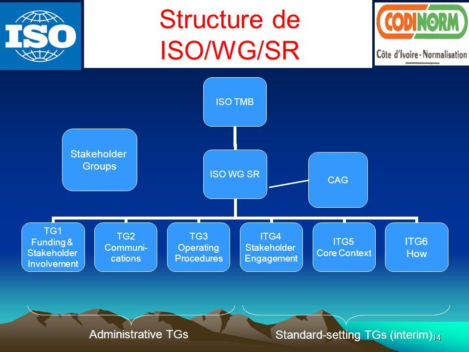 14 ISO TMB ISO WG SR TG1 Funding & Stakeholder Involvement TG2 Communi- cations TG3 Operating Procedures ITG4 Stakeholder Engagement ITG5 Core Context ITG6 How CAG Stakeholder Groups Administrative TGs Standard-setting TGs (interim) Structure de ISO/WG/SR
