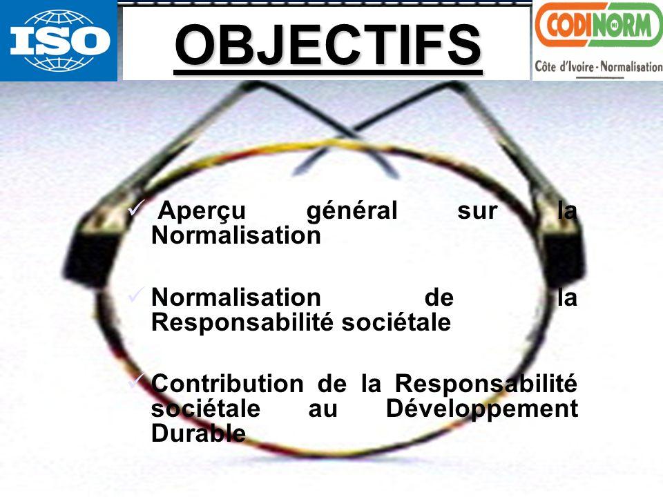 Normalisation du Développement Durable, létape de la Responsabilité sociétale2 Aperçu général sur la Normalisation Normalisation de la Responsabilité