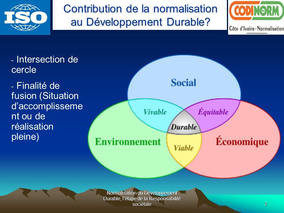 Normalisation du Développement Durable, létape de la Responsabilité sociétale28 Normalisation du Développement Durable, létape de la Responsabilité sociétale Je vous remercie Forum IHE 2008 2008