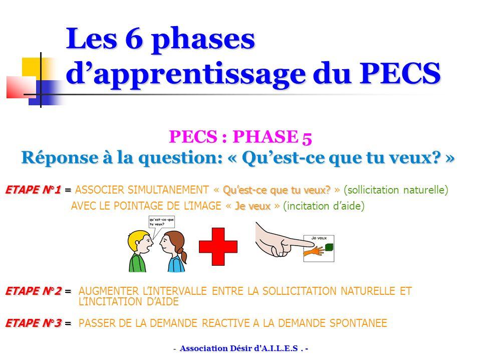 Les 6 phases dapprentissage du PECS PECS : PHASE 5 Réponse à la question: « Quest-ce que tu veux.