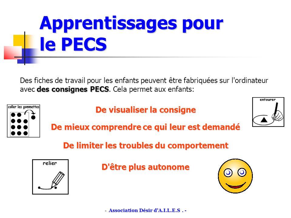 Apprentissages pour le PECS des consignes PECS Des fiches de travail pour les enfants peuvent être fabriquées sur l ordinateur avec des consignes PECS.