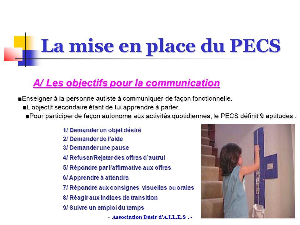 La mise en place du PECS A/ Les objectifs pour la communication Enseigner à la personne autiste à communiquer de façon fonctionnelle.