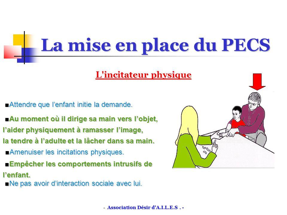 La mise en place du PECS L incitateur physique Attendre que lenfant initie la demande.