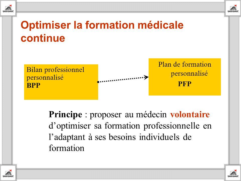 Optimiser la formation médicale continue Bilan professionnel personnalisé BPP Principe : proposer au médecin volontaire doptimiser sa formation profes