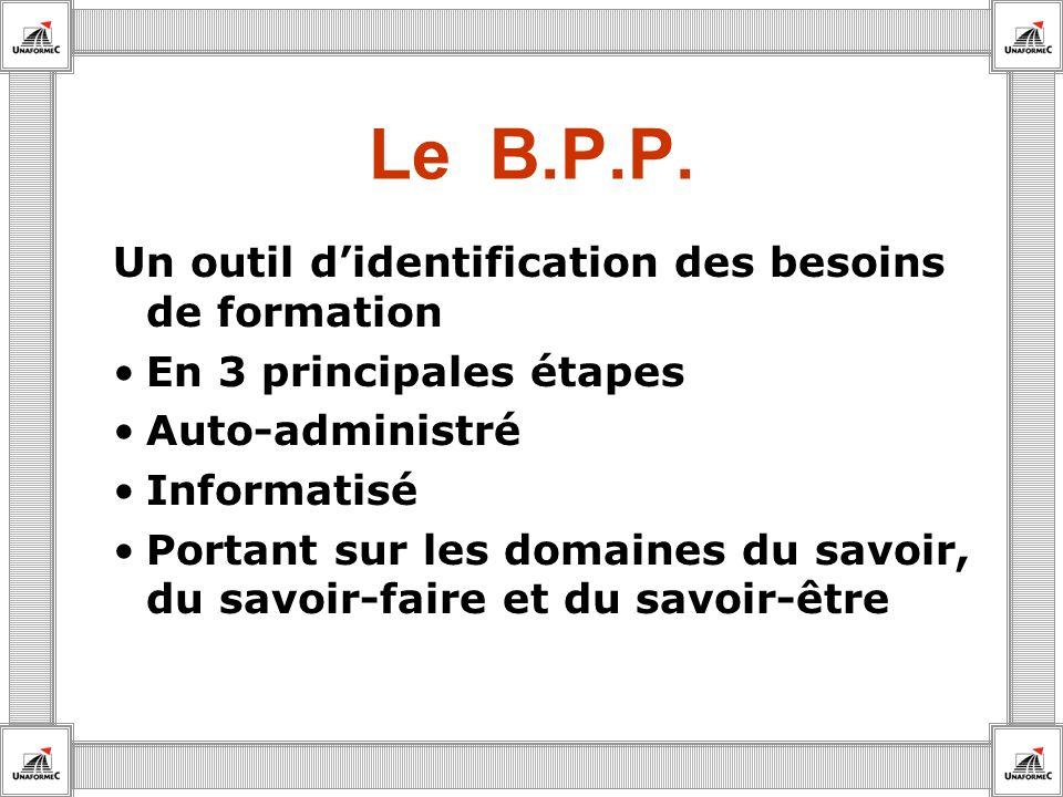 Le B.P.P. Un outil didentification des besoins de formation En 3 principales étapes Auto-administré Informatisé Portant sur les domaines du savoir, du