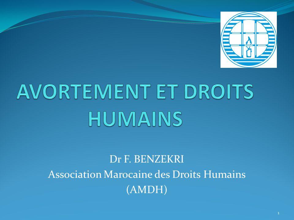 Dr F. BENZEKRI Association Marocaine des Droits Humains (AMDH) 1