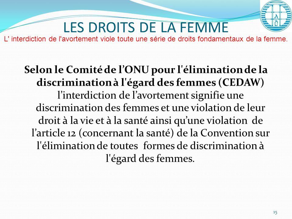Selon le Comité de lONU pour l'élimination de la discrimination à l'égard des femmes (CEDAW) linterdiction de lavortement signifie une discrimination